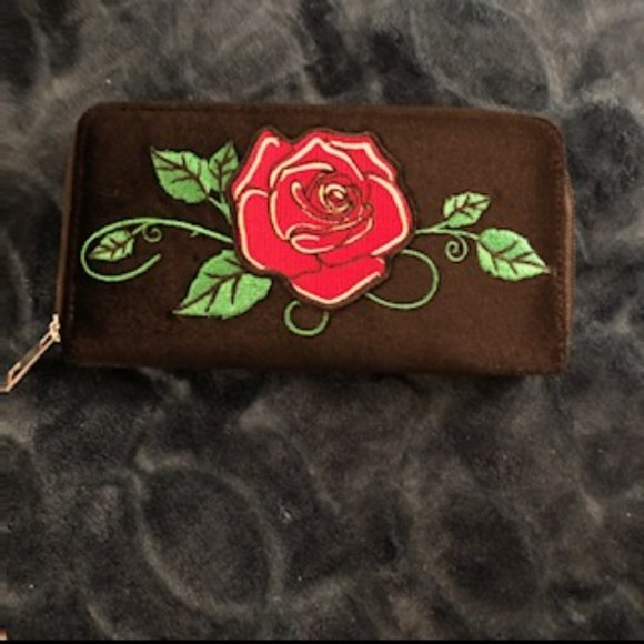 none Handbags - Black Velvet Wallet with rose